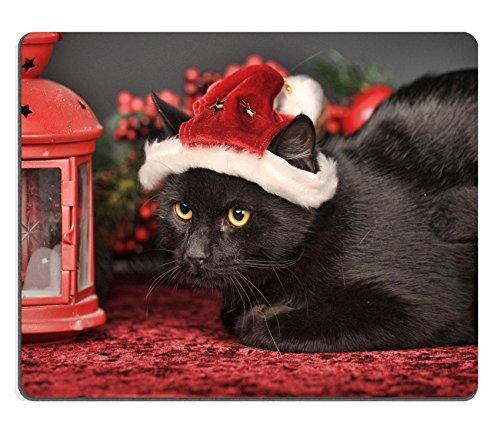 MSD Gaming–Alfombrilla de ratón (caucho Natural imagen ID: 35095499negro gato en gorro de Papá Noel