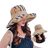 UVカット 帽子 レディース ハット サンバイザー サンハット チェック柄 紫外線対策 2way 両面用 折りたたみ 取り外すあご紐 つば広 おしゃれ 可愛い ハット 旅行用 日よけ 夏季 日射し 海 夏季 女優帽 小顔効果抜群 (ベージュ)