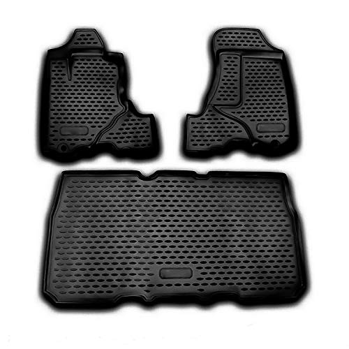 OMAC Complete Set Custom Fit Liner Auto Accessories | All Weather Performance 3D Molded Black Rubber Car Floor Mat | Fits Honda Element 2003-2011