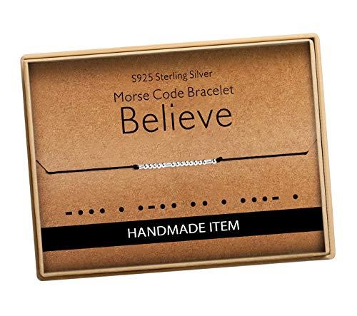 Morse Code Believe Bracelet 925 Sterling Silver Handmade Bead Adjustable String Bracelets Inspirational Jewelry for Women