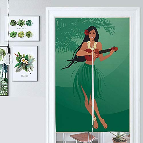 ALUONI Kitchen Curtain Bedroom Partition Curtain Hula Girl, Happy Girl with Exotic Clothes and Playing Ukulele Noren Japanese Curtain Doorway Door Curtain Cotton Linen AM018067 W39.3 x L59