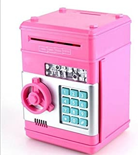 URTop Creative New Design Piggy Bank Mini ATM Money Box Safety Electronic Password Chewing Coins Bank Cash Deposit Machine Birthday Gift for Children Kids Pink Color