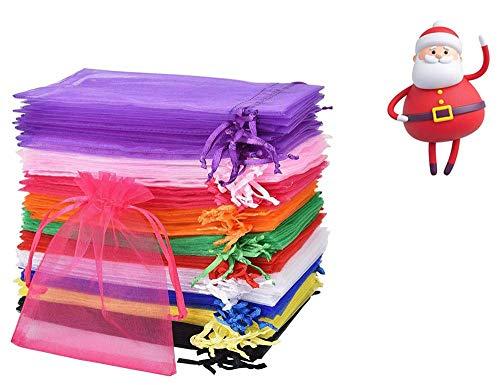 Borse in Organza, Hitopin 100 Pezza Sacchetto di Organza con Coulisse Sacchetti Tulle, per Confezionare Cioccolatini Natalizi Caramelle (10 x 15 cm, Multicolore)