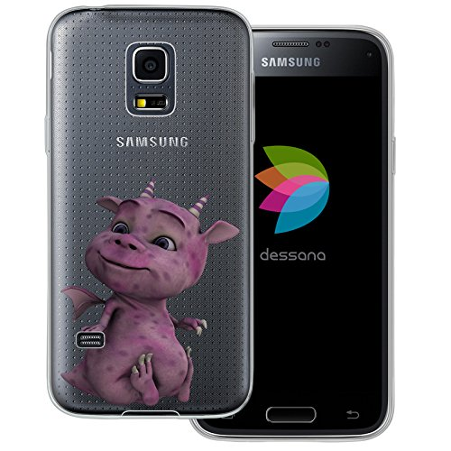 dessana schattige draak transparante silicone TPU beschermhoes 0,7 mm dunne mobiele telefoon soft case cover tas voor Samsung, Samsung Galaxy S5 mini, Paarse draak