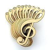 Sagoma in legno a forma di chiave di violino, confezione da 10 pezzi, spessore 3mm Small 8cm x 3.2cm Natural-Top Centre Hole