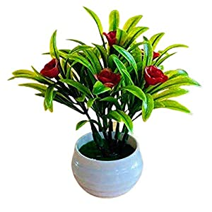 dSNAPoutof Artificial Plant Pot Hibiscus Flower Hotel Garden Decor Plastic Colorful Imitation Flower Pot for Wedding, Home Decor, Party, Red