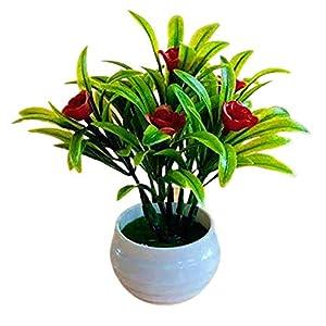 preliked Artificial Plant Pot Hibiscus Flower Hotel Garden Plastic Colorful Imitation Flower Potfor Home Decor, Indoor, Office, Desk, Wedding Decoration – Red