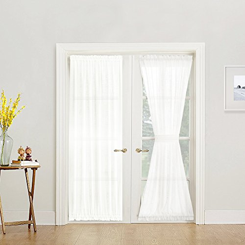jinchan White Sheer French Door Panels Privacy 2 Panels Linen Textured French Door Curtains Solid Sliding Door Curtains W52 x L72 inch Matching 2 Tie Backs Included