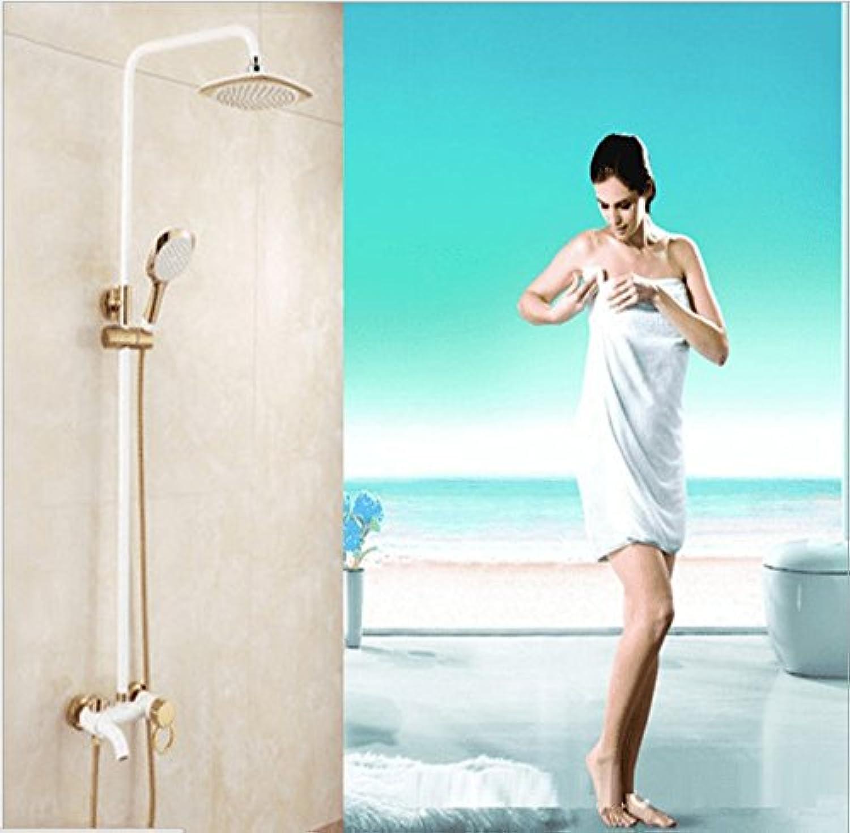 AQMMi Waschtischarmatur Wasserhahn Bad Mischbatterie Wei 1K Lack Wei Gold Dusche Set Messing Warmes Und Kaltes Wasser Badezimmer Mischbatterie