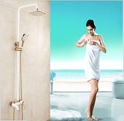 KaO0YaN-Shower Europeo Pintura Al Horno Blanca Blanco Dorado Ducha Juego De Ducha...