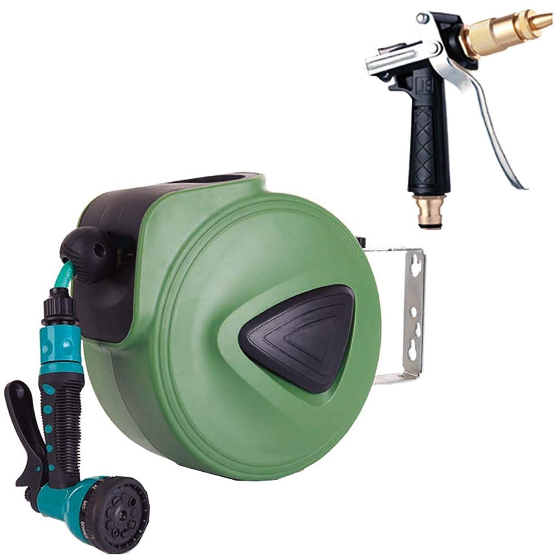 疑問に思う知る蒸し器ウォールマウントリトラクタブルガーデン水ホースリール高圧水銃で9調節可能なスプレーノズルの自動巻き戻しガーデンホースキット,グリーン