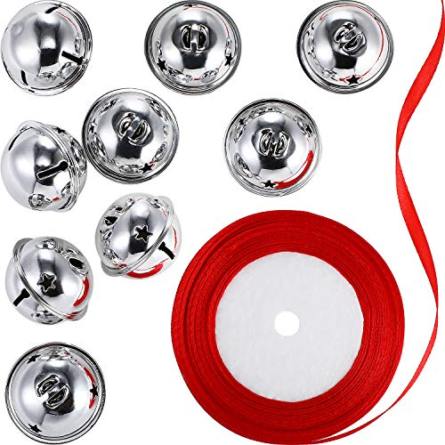 9 Pieces Star Cutouts Jingle Bells Christmas Craft Bells with Red Ribbon Roll for Christmas Decorations