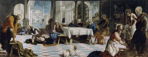 "Jacopo Tintoretto Christ Washing The Feet of his Disciples Museo Nacional del Prado 30"" x 12"" Fine Art Giclee Canvas Print Reproduction (Unframed)"