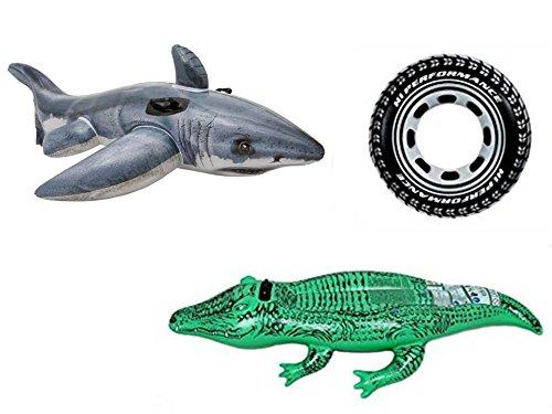 Kit piscine & loisirs avec livraison gratuite : 1 requin géant à chevaucher de 73 x 107 cm + 1 crocodile à chevaucher de 168 x 86 cm + 1 bouée pneu de 91 cm de diamètre