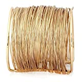 ELECTROPRIME Women Gold Alloy Metal Coil Thin Coil Wire Open Cuff Wide Bracelet Bangle