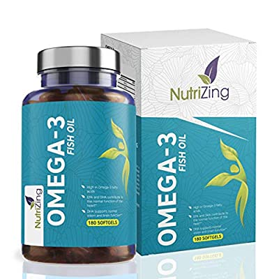NutriZing's Omega-3 High Strength Supplement ~ 2000mg, 660 EPA 440 DHA per serving ~ 180 soft gels ~ Essential Fatty Acids ~ Boost Immune System, Support Heart & Brain Health, Help Cholesterol, For Joint Care ~ Made in UK ~ Money Back Guarantee by NutriZi