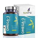 Suplemento de aceite de pescado Omega 3-2000 mg de aceite de pescado, 660 mg EPA 440 mg DHA - Ácidos grasos esenciales por NutriZing - Apoya el mantenimiento de la función normal del corazón