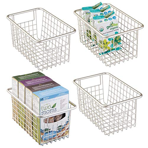 mDesign Modern Farmhouse Deep Metal Wire Storage Organizer Bin Basket with Handles for Kitchen Cabinets, Pantry, Closets, Bedrooms, Bathrooms, Laundry Rooms, Garages - 5.25' High, 4 Pack - Satin