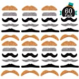 Whaline 60 Pieces Fake Mustache Self Adhesive Costume Novelty Mustaches for Party Supplies, Masquerade & Performance (Multicolor)
