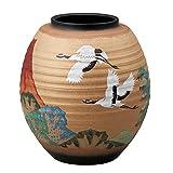 九谷焼 8号花瓶 赤富士に鶴 :古田弘毅