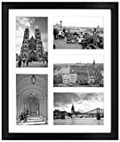 Golden State Art, 11.6x13.7 Black Photo Wood Collage Frame with REAL GLASS and White displays (5) 4x6 pictures by Golden State Art