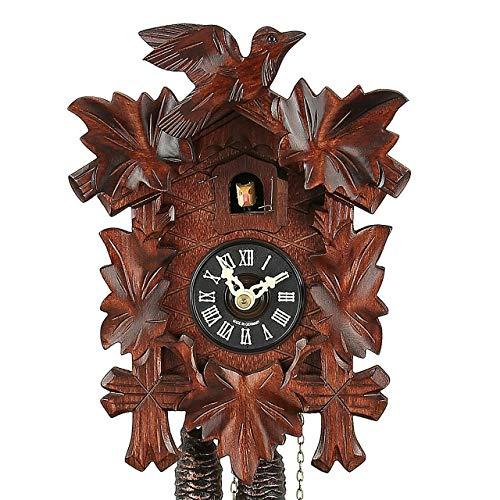 Hekas Original Schwarzwälder Kuckucksuhr - Fünflaub - mit mechanischem Uhrwerk - handgefertigt - VDs-Zertifiziert - 2 Jahre Garantie