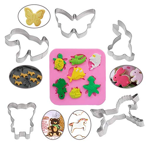 WENTS 1 PCS Silicone Marine Animal Cake Jelly Mold and 5 PCS Stainless Steel Animal Cookie Cutters for DIY Baking Cake Fondant Sugar Craft Pastry Bakeware Decoration