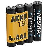 ABSINA Akku AAA Micro 1150 4er Pack - NiMH Wiederaufladbare AAA Batterien mit min. 1050 mAh und 1,2V - Akkus AAA für Geräte mit hohem Stromverbrauch - AAA Batterie perfekt für DECT Handy