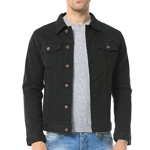 Just No Logo Men's Casual Denim Jacket(Black,US Medium)