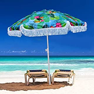 AMMSUN 2m Beach Umbrella with Tilt Mechanism and Carrying Case,UPF 50+,Color Blue and Green,Perfect for Outdoor Beach, Cam...