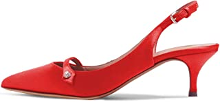 Women Pointed Toe Mid Kitten Heel Slingback Sandal Pumps Slip On Patent Satin Dress Shoes