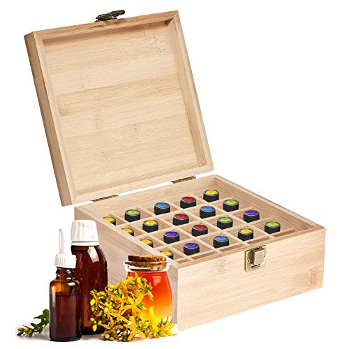 Ganmek Essential Oil Storage Box Case | Wooden Organizer Holds 25 Bottles 5 mL, 10 mL and 15mL Sizes | Nature Bamboo Box For Home or Travel outgoing