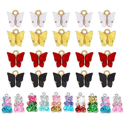 30 Piezas de joyería acrílica Accesorios Colgantes, Pendientes Colgantes Colgante de Cadena de Llaves, encantos de Mariposa Juego Colgante de Oso de Caramelo