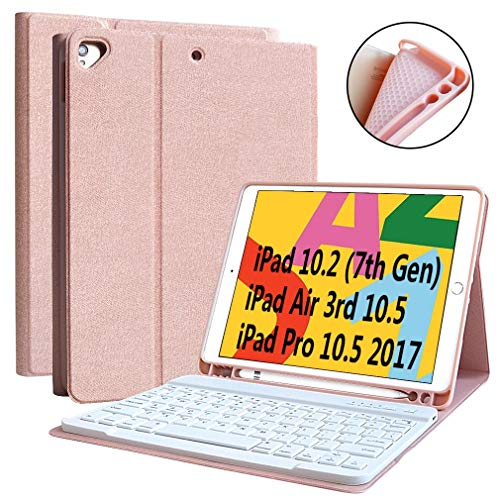 "iPad 7th Generation Case Keyboard 10.2"" 2019, Keyboard Case for iPad Air 3 10.5"" 2019 (3rd Gen)/iPad Pro 10.5 inch 2017-Detachable Wireless Bluetooth Keyboard, Magnetic Smart Case with Pencil Holder"