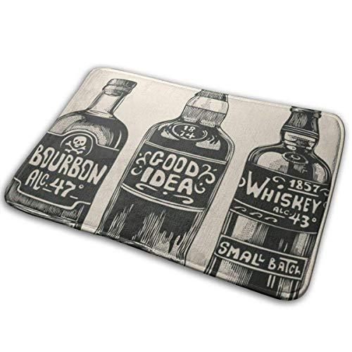 Lemotop deurmat, buiten deurmat keuken gang ingang tapijt, Whiskey drie flessen sterke alcohol graveren drank vintage drank