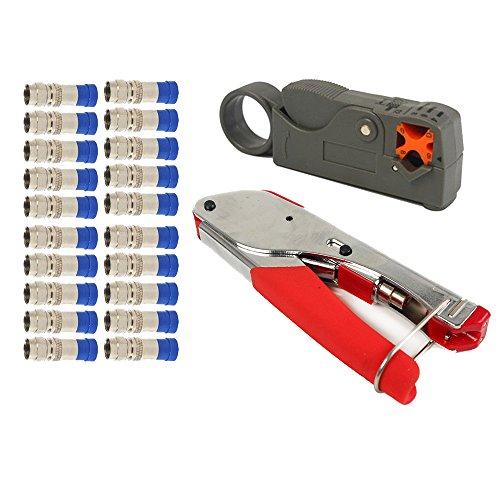 Nuzamas F-type de compression Pince à sertir Stripper Ensemble Outil à Main rotatif câble coaxial à sertir dénuder Pince coupante RG59RG6à sertir Cutter avec 20connecteurs