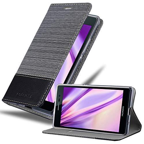 Cadorabo Hülle für Huawei P7 in GRAU SCHWARZ - Handyhülle mit Magnetverschluss, Standfunktion & Kartenfach - Hülle Cover Schutzhülle Etui Tasche Book Klapp Style