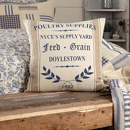 Piper Classics Doylestown Blue Nyce Supply Yard Throw Pillow Cover, 18' x 18', Blue, Tan & Cream, Vintage Rustic Farmhouse, Country, Cottage Home Décor Accent