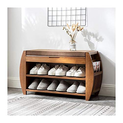 Estante De Banco De Zapatos De Bambú Con Cojín Extraíble, Caja De Almacenamiento Oculte, Cajón Lateral Para La Entrada De Zapatos De Almacenamiento De Zapatos Gabinete De Zapatos ( Color : Small )