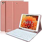 Funda Teclado iPad 9.7, Funda iPad 2018 con Ranura para Lápiz y Teclado Español (Incluye Letra Ñ) Bluetooth para iPad 2018/iPad 2017/iPad Pro 9.7/iPad Air 2/1 - Cubierta Magnética Delgada