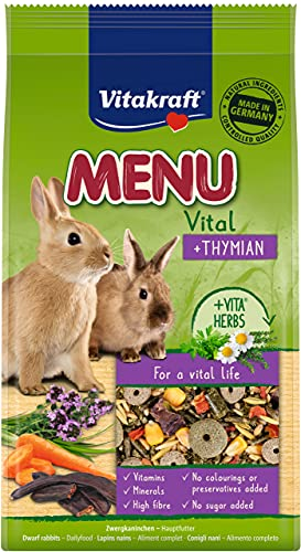 Vitakraft Menú Tomillo - Pienso completo para conejos enanos de mascotas, 5 x 1 KG