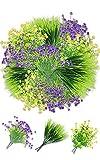 9 Flores Artificiales Exterior Resistente a los Rayos UV Arbustos Plantas Artificiales Flor Falsas de Plástico Ramo Decoracion para Casa Jardín Porche Ventana Jarrones Boda (Jarrón no Incluido)(B)