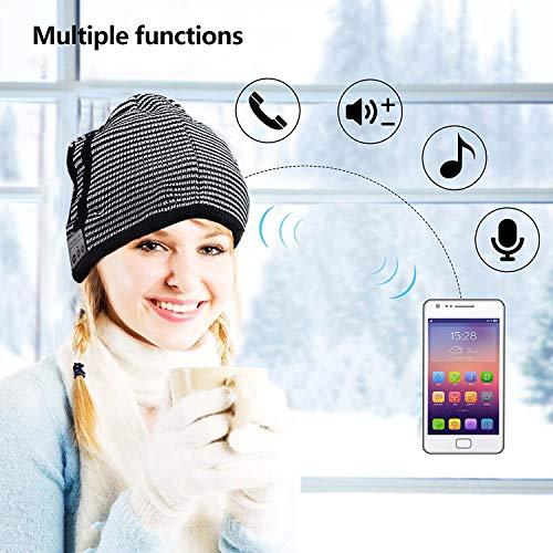Black with Gray BGJOY Music Hat Wireless Beanie Smart Hat Built-in Stereo Speaker Mic Wireless Headphones Beanie Sync Call Music for All Bluetooth Smart Phones Gift Men Women Boys Girls