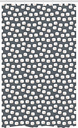 ABAKUHAUS Schaf Schmaler Duschvorhang, Bedtime Childish Design-Lämmer, Badezimmer Deko Set aus Stoff mit Haken, 120 x 180 cm, Grau Pfirsich & Weiß
