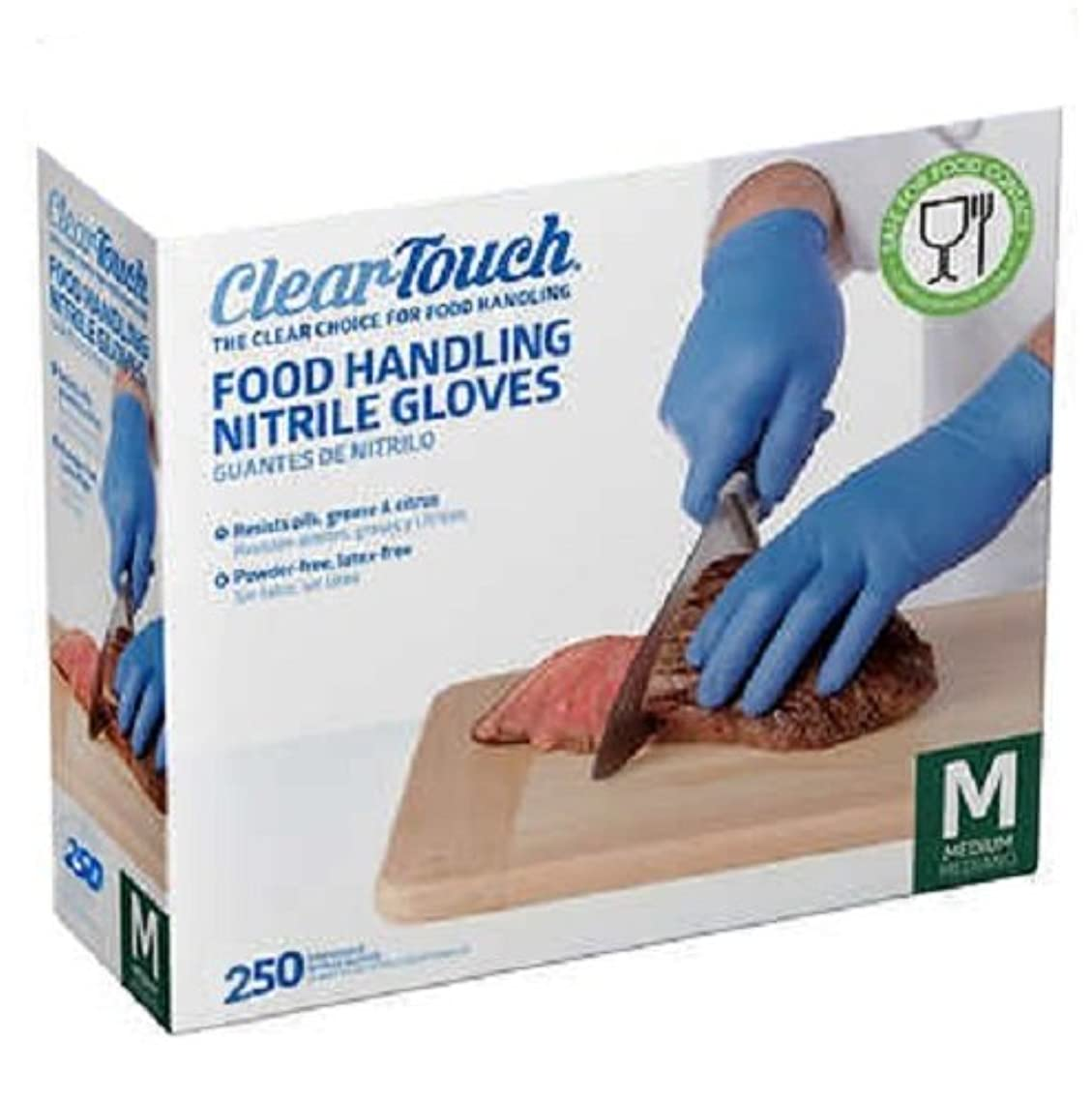 Food Handling Nitrile Gloves Powder Free. Latex Free, Food Handing Gloves for Cooking,Cleaning,Food Handling Disposable Gloves,Resists Oils, Grease - Complies with FDA 21 CFR 177 (250, Medium)