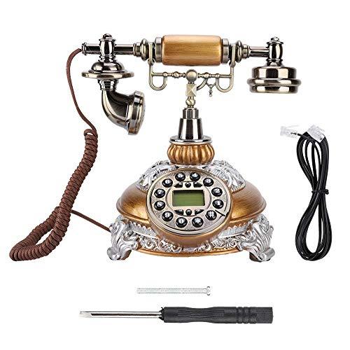 Teléfono retro, antiguo antiguo sistema dual FSK/DTMF nostálgico teléfono con pantalla LCD, teléfono fijo europeo clásico teléfono de escritorio para regalo de vida en el hogar, etc.