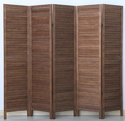 PEGANE Biombo persiana de Madera de 5 Paneles, Color marrón - Dim : A 170 x A 200 cm