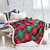 """Tirrinia Sherpa Blankets and Throws, Super Soft Warm Comfy, Checkered Blanket Winter Cabin Throw, Holiday Theme Blanket, 50"""" x 60"""" Red Plaid"""