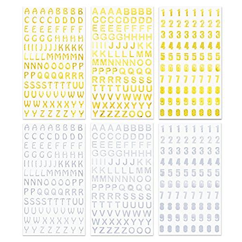 Juego de 6 hojas de pegatinas números y letras para niños, autoadhesivos con purpurina figuras grandes del alfabeto para comunión velas manualidades álbumes de fotos tarjetas felicitación decoración