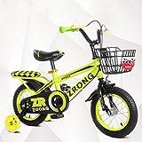 MYERZI Absorción de Impacto Bicicletas for niños Bicicletas de 4-7 años Niños de 16 pulgadas Niños ciclismo de alta de acero al carbono for transporte de niños, Rojo / / verde de la bicicleta infantil